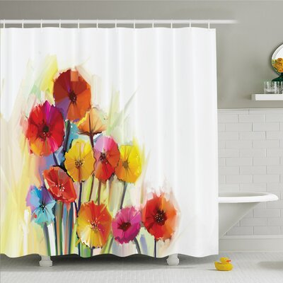 Watercolor Flower Home Gerbera Bouquets Romance Elegance Fragrance Blossom Beauty Shower Curtain Set Size: 75