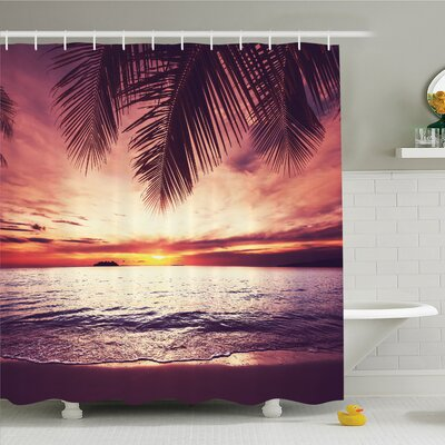 Palm Tree Tropical Beach under Shadow at Sunset Ocean Waves Serenity in Natural Paradise Shower Curtain Set Size: 70 H x 69 W