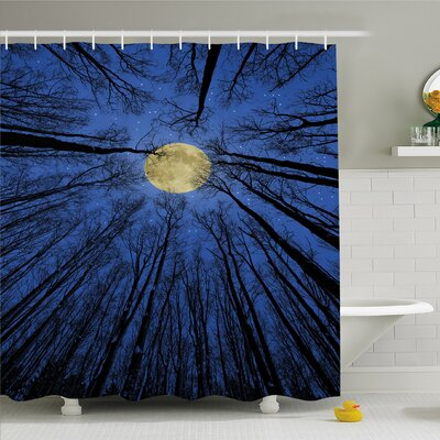 Forest Home Full Moon Illumination in Woods Star Night Heavenly Lunar Treetops Shower Curtain Set Size: 70 H x 69 W