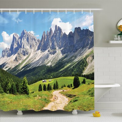 Nash Winding Path into Pine Tree Forest Meadows and Mountain Scenery Print Shower Curtain Set Size: 70 H x 69 W
