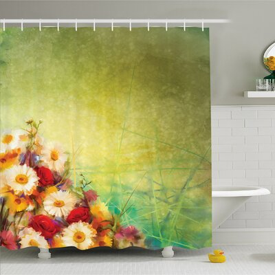 Watercolor Flower Home Romantic Bouquet Rose Chamomile Grunge Pastoral Scene Print Shower Curtain Set Size: 84 H x 69 W