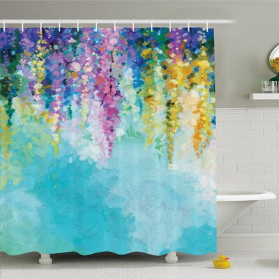 Watercolor Flower Home Ivy Romantic and Inspiring Landscape Spring Floral Art Nature Theme Shower Curtain Set Size: 75 H x 69 W