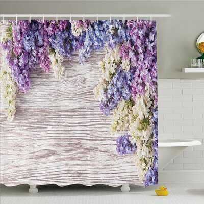 Rustic Home Lilac Flowers Bouquet on Table Nature Romance Shower Curtain Set Size: 70 H x 69 W