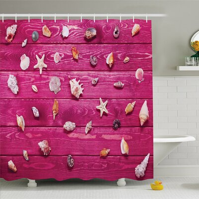 Rustic Home Little Sea Shells on Marine Coast Tropical Life Shower Curtain Set Size: 84 H x 69 W