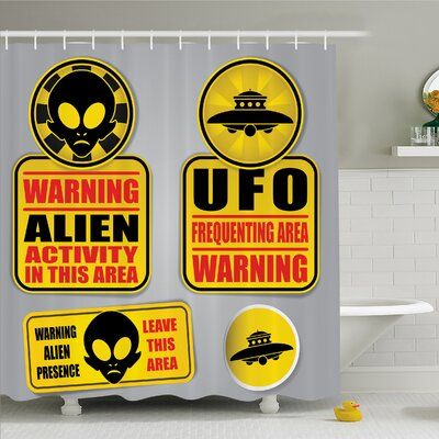 Outer Space Warning Alien UFO Sign Face of Martian Creature Danger Horror Print Shower Curtain Set Size: 70 H x 69 W