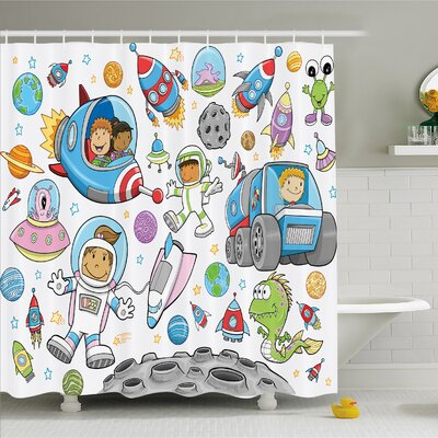 Outer Space Deep Space Astronaut Alien Rockets on Moon Kids Nursery Shower Curtain Set Size: 75 H x 69 W