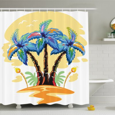 Palm Tree Cartoon Tropical Island with Hawaiian Palm Trees Torch Seagulls at Sunset Shower Curtain Set Size: 84 H x 69 W