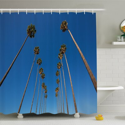 Palm Tree Palms and Clear Sky Scene Tropical Plant Summer Exotic Nature Illustration Shower Curtain Set Size: 84 H x 69 W