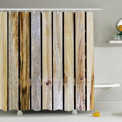 Rustic Home Vintage Timber Fence of Country Rough Rural House Mother Earth Shower Curtain Set Size: 75 H x 69 W