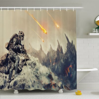 Outer Space Futuristic Mechanical Armed Soldier in Battle Alien Planet Save the World Image Shower Curtain Set Size: 75 H x 69 W