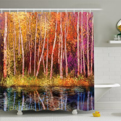 Watercolor Flower Home Fall Trees along with Lake Fall in Jungle Natural Paradise Shower Curtain Set Size: 75 H x 69 W