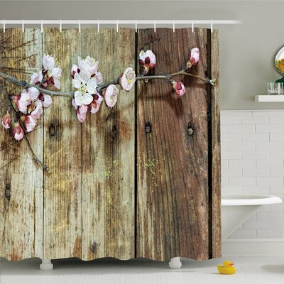 Rustic Home Stained Walnut Branch with Soft Twiggy Swirling Flower Leaves  Shower Curtain Set Size: 70 H x 69 W