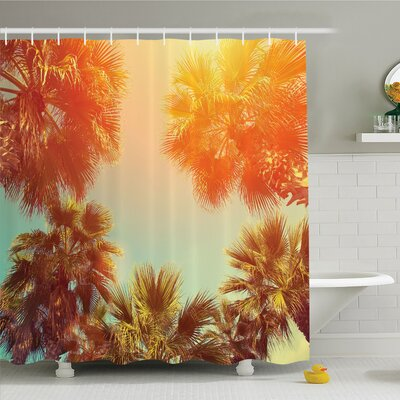 Palm Tree Trees Sunlights Tranquility in Tropical Nature Landscape at Summer Theme Shower Curtain Set Size: 84 H x 69 W