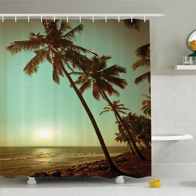 Palm Tree Sunset Tropical Beach Dusk on Pacific Ocean Vintage Exotic Landscape Print Shower Curtain Set Size: 70 H x 69 W