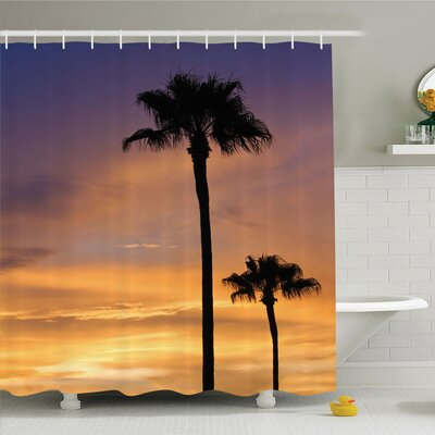 Palm Tree Twilight in Tropical Environment Natural Beauty at Sunset Scene Shower Curtain Set Size: 84 H x 69 W