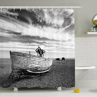 Ocean Picture of a Dated Wooden Boat on Rocky Beach and Stormy Clouds in the Sky Shower Curtain Set Size: 84 H x 69 W