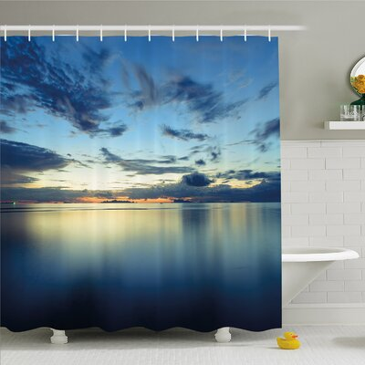 Scenery House Dramatic Dusk Sunset over Calm Peace Tropic Azure Lagoon Ocean Shower Curtain Set Size: 84 H x 69 W