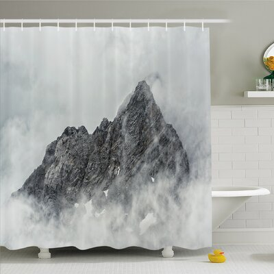 Farm House Landscape of Jade Dragon Mountain Atmosphere on Summit Asian Natural Beauty Shower Curtain Set Size: 75 H x 69 W