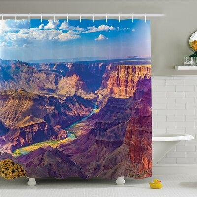House Epic Grand Canyon Activity of River Stream over Rock Plateau Shower Curtain Set Size: 75 H x 69 W