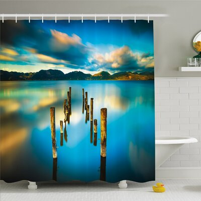 Scenery House Surreal Landscape with Wood Deck and Clouds in Sky Coastal Charm Shower Curtain Set Size: 75 H x 69 W