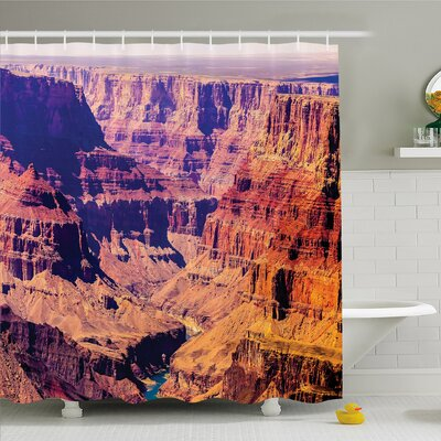 House Grand Canyon in Arizona with Base Elevations North American Sublime Tribal Landscape Shower Curtain Set Size: 75 H x 69 W