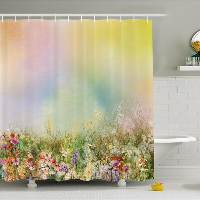 Watercolor Flower Home Cosmos Daisy Cornflower Wildflower Dandelion in Floral Meadow Scene Shower Curtain Set Size: 84 H x 69 W