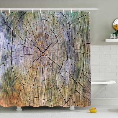 Rustic Home Rings of Wood Growth Inner Tree Body Branch Whorls Design Shower Curtain Set Size: 75 H x 69 W