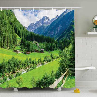 Nash Landscape with Meadow Cottages and Pines Stream Shower Curtain Set Size: 75 H x 69 W