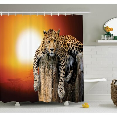 Animal Leopard on Tree Shower Curtain Set Size: 75 H x 69 W