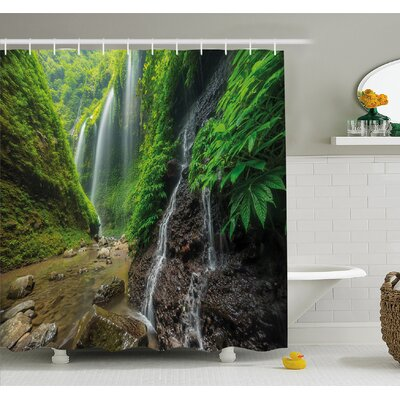 Waterfalls Side Valley in Indonesia with Asian Bushes above the Hills Shower Curtain Set Size: 70 H x 69 W