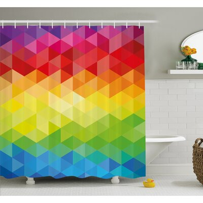 Geometrical Polygonal Diamond Forms with Triangle Mirroring Lines Artwork Shower Curtain Set Size: 84 H x 69 W