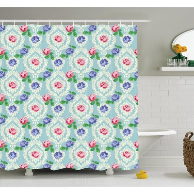 Baroque Inspired Embellished Colorful Roses on Victorian Pattern Shower Curtain Set Size: 84 H x 69 W
