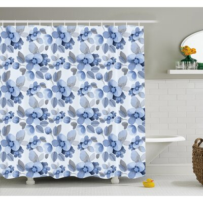 Watercolor Paintbrush Camellia Petals Perennial Romance Sprout Artsy Print Shower Curtain Set Size: 84 H x 69 W