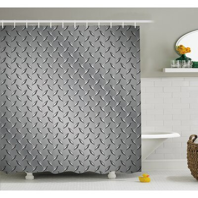Cross Wire Fence Netting Display with Diamond Plate Effects Chrome Kitsch Motif Shower Curtain Set Size: 70 H x 69 W
