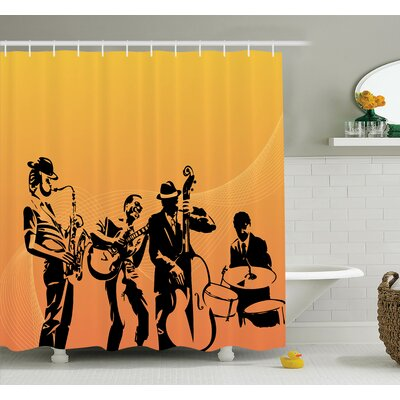 Music Jazz Band Concert Shower Curtain Set Size: 75 H x 69 W