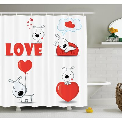 Grundy Funny Dog with Hearts Shower Curtain Set Size: 70 H x 69 W