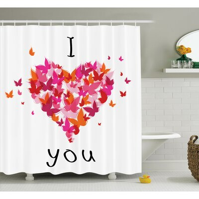 Butterfly Heart Figure Love Shower Curtain Set Size: 75 H x 69 W