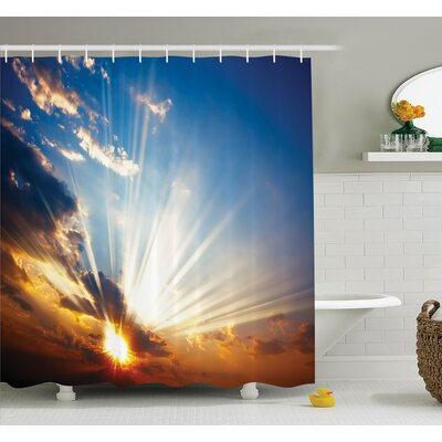 Nature Sunbeams in Sky Scenery Shower Curtain Set Size: 84 H x 69 W