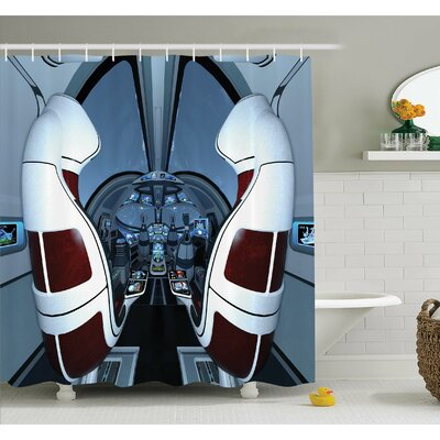 Outer Space Shuttle Cockpit Captain Traffic Rocketship Navigation Theme Image Shower Curtain Set Size: 75 H x 69 W