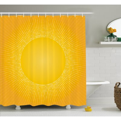 Digital Modern Image of the Sun with Sunshine in Cool Circle Pixels Art Shower Curtain Set Size: 70 H x 69 W