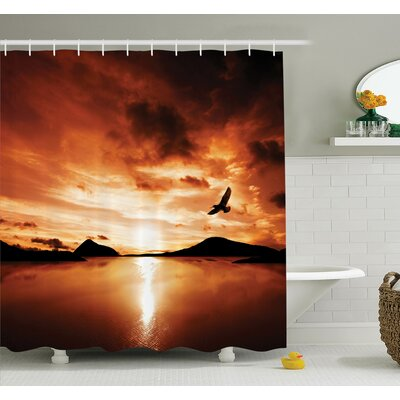 Carylon Sunset Sea Mountain Wings Shower Curtain Set Size: 84 H x 69 W