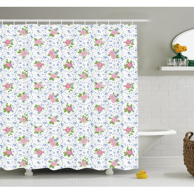 Classical Peony Flowers Surrounded by Circular Bouquets Nature Romance Image Shower Curtain Set Size: 70 H x 69 W