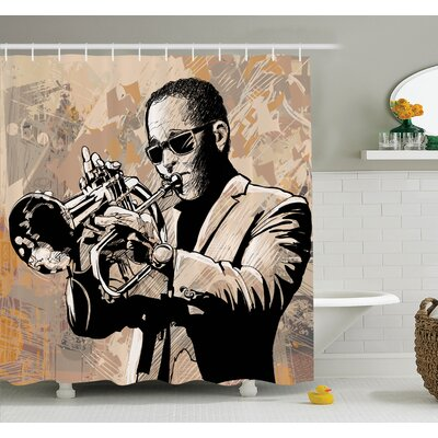 Music Grunge Afro Jazz Art Shower Curtain Set Size: 75 H x 69 W