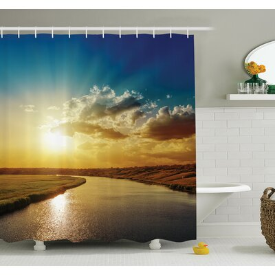 Nature Dreamy Sunset on River Shower Curtain Set Size: 70 H x 69 W