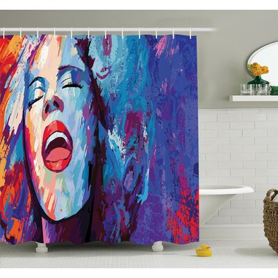 Music Singer Grunge Shower Curtain Set Size: 70 H x 69 W