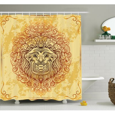 Abstract Art Lion Retro Grunge Shower Curtain Set Size: 75 H x 69 W