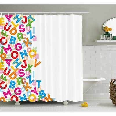 Alphabet Background with Letter Icons Literature Textured Fun Print Shower Curtain Set Size: 75 H x 69 W