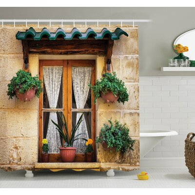 Old Window and Flowers Shower Curtain Set Size: 70 H x 69 W