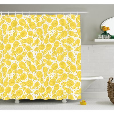 Cute African Pineapple Fruit Pattern with Dots and Little Circles Shower Curtain Set Size: 70 H x 69 W