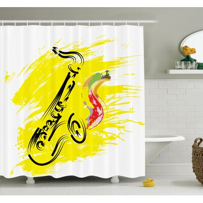 Stylized Saxophone Art Shower Curtain Set Size: 84 H x 69 W